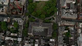 AX115_231 - 6K stock footage aerial video bird's eye view of the United States Embassy and Grosvenor Square, London, England
