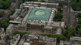 AX115_235 - 6K stock footage aerial video of the front entrance to the British Museum, London, England