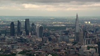 AX115_273 - 6K stock footage aerial video of Central London skyscrapers and The Shard, England