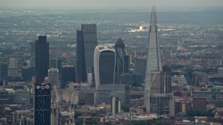 AX115_278 - 6K stock footage aerial video of skyscrapers in Central London near The Shard and Strata, England