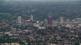 AX115_285 - 6K stock footage aerial video of office buildings, Croydon, England