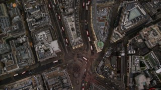 AX116_039 - 6K stock footage aerial video of a bird's eye view of Piccadilly Circus and Regent Street, London, England, twilight