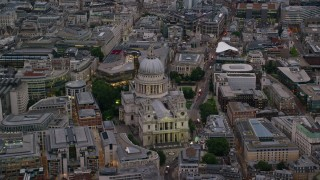 AX116_082 - 6K stock footage aerial video of approaching St Paul's Cathedral, London, England, twilight