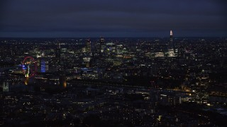 AX116_197 - 6K stock footage aerial video of Central London skyscrapers and The Shard, London, England, night