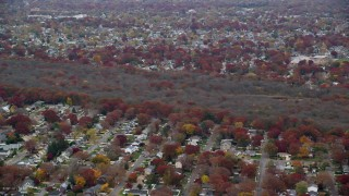 AX117_054 - 6K stock footage aerial video of a view of nature preserve trees in Autumn, Massapequa, New York