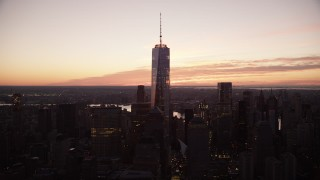 AX118_018 - 6K stock footage aerial video flyby One World Trade Center at sunrise in Lower Manhattan, New York City