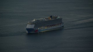 AX118_020 - 5.5K stock footage aerial video of a cruise ship on Hudson River at sunrise, New York City