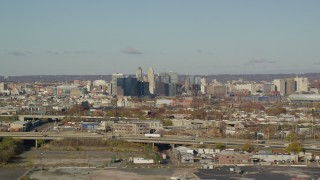 AX119_001 - 6K aerial stock footage video of skyscrapers in Downtown Newark, New Jersey