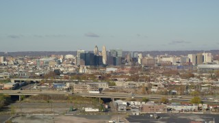 AX119_001E - 5.5K aerial stock footage video of skyscrapers in Downtown Newark, New Jersey
