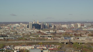 AX119_002 - 6K stock footage aerial video of a wide view of skyscrapers in Downtown Newark, New Jersey