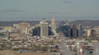 AX119_003 - 6K stock footage aerial video of a view of skyscrapers in Downtown Newark, New Jersey