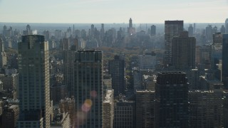 AX119_032 - 6K stock footage aerial video of high-rises on the Upper West Side in Autumn, New York City