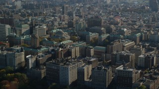 AX119_038 - 6K stock footage aerial video of Columbia University in Autumn, Morningside Heights, New York City