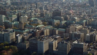 AX119_038E - 5.5K stock footage aerial video of Columbia University in Autumn, Morningside Heights, New York City