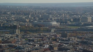 AX119_041 - 6K stock footage aerial video of Yankee Baseball Stadium in Autumn, The Bronx, New York City
