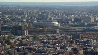AX119_041E - 5.5K stock footage aerial video of Yankee Baseball Stadium in Autumn, The Bronx, New York City