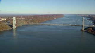 AX119_043 - 6K stock footage aerial video of approaching George Washington Bridge in Autumn, New York City