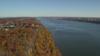 AX119_051 - 6K stock footage aerial video of St Peter's College and Hudson River in Autumn, Englewood Cliffs, New Jersey