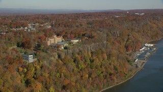 AX119_052 - 6K stock footage aerial video orbit St Peter's College in Autumn, Englewood Cliffs, New Jersey