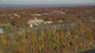 AX119_053 - 6K stock footage aerial video of orbiting St Peter's College in Autumn, Englewood Cliffs, New Jersey