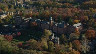 AX119_061 - 6K stock footage aerial video of the College of Mount Saint Vincent in Autumn, Yonkers, New York