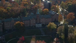 AX119_062 - 6K stock footage aerial video of an orbit of the College of Mount Saint Vincent in Autumn, Yonkers, New York