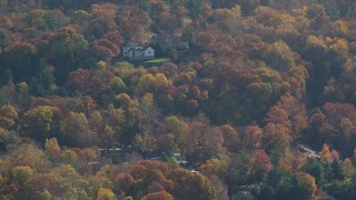 AX119_084 - 6K stock footage aerial video of mansions in Autumn, Irvington, New York