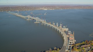 AX119_087 - 6K stock footage aerial video orbit Tappan Zee Bridge in Autumn, Tarrytown, New York
