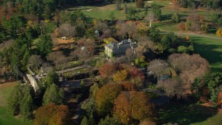 AX119_093E - 5.5K stock footage aerial video of orbiting the historic Kykuit Estate in Autumn, Westchester County, New York