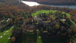 AX119_095 - 6K stock footage aerial video of circling the historic Kykuit Estate in Autumn, Westchester County, New York