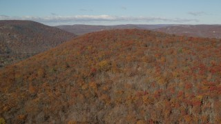 AX119_151 - 6K stock footage aerial video of flying over forest in Autumn, Westchester County, New York