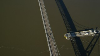 AX119_154 - 6K stock footage aerial video of Bear Mountain Bridge in Autumn, Westchester County, New York