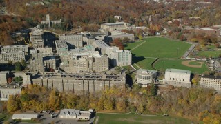 AX119_166 - 6K stock footage aerial video of an orbit of West Point Military Academy in Autumn, West Point, New York