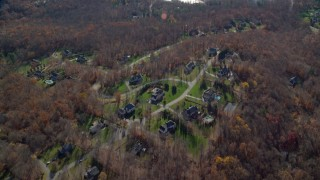AX119_206 - 6K stock footage aerial video of a bird's eye view of upscale homes in Autumn, Yorktown Heights, New York