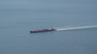 AX119_235 - 6K stock footage aerial video of an oil tanker sailing Long Island Sound