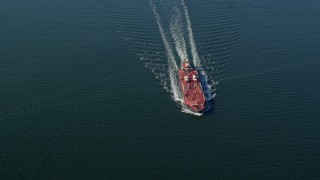 AX119_236 - 6K stock footage aerial video of an orbit of an oil tanker sailing Long Island Sound