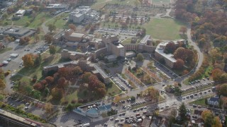 AX120_045 - 6K stock footage aerial video approach a hospital in Autumn, Jamaica, Queens, New York City