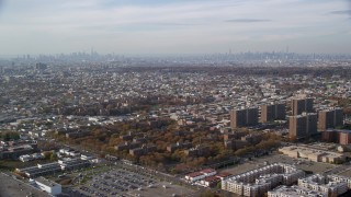 AX120_075 - 6K stock footage aerial video of a wide view of apartment buildings and projects in Autumn, Brooklyn, New York City