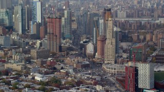 AX120_085 - 6K stock footage aerial video of skyscrapers in the downtown area of Brooklyn in Autumn, New York City