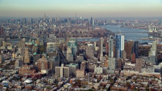 AX120_088 - 6K stock footage aerial video of Brooklyn's downtown skyscrapers in Autumn, New York City