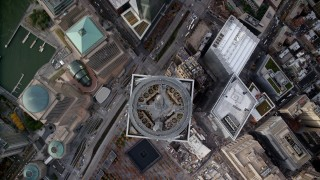 AX120_110 - 6K stock footage aerial video tilt to bird's eye view of Freedom Tower in Lower Manhattan, New York City