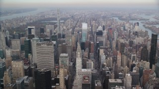 AX120_159 - 6K stock footage aerial video approach Chrysler Building in Midtown Manhattan, New York City