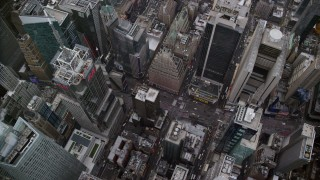 AX120_178 - 6K stock footage aerial video of a bird's eye of light traffic on Broadway in Times Square, Midtown Manhattan, New York City