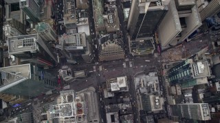 AX120_178E - 6K stock footage aerial video of a bird's eye of light traffic on Broadway in Times Square, Midtown Manhattan, New York City