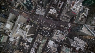 AX120_179 - 6K stock footage aerial video of a bird's eye orbit of Times Square in Midtown, New York City