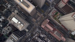 AX120_192 - 6K stock footage aerial video of a bird's eye of city streets in Midtown, New York City