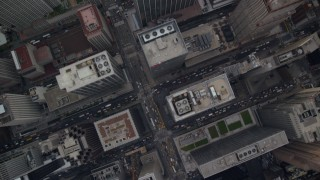 AX120_236E - 6K stock footage aerial video of a bird's eye of Midtown streets and high-rises, New York City