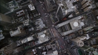 AX120_237 - 6K stock footage aerial video of a bird's eye of busy streets and Times Square in Midtown, New York City