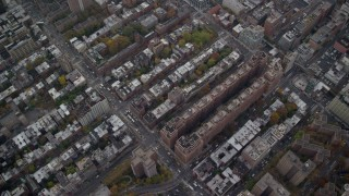 AX120_239E - 6K stock footage aerial video of a bird's eye view of Chelsea apartment buildings in Autumn, New York City