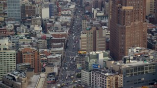 AX120_245 - 6K stock footage aerial video orbit Canal Street in Soho, New York City